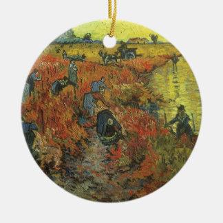 Roter Weinberg durch Vintage Impressionismus-Kunst Keramik Ornament