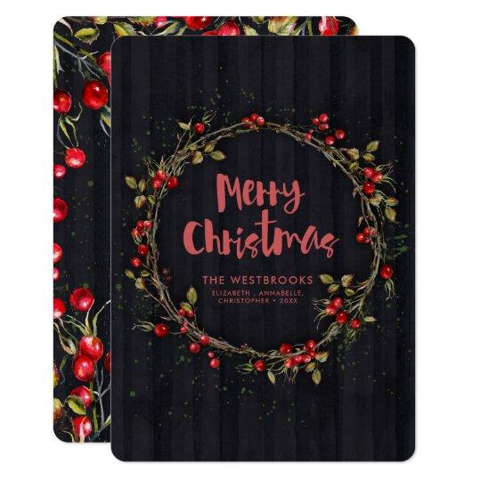 Roter Weißdorn-Kranz-nobler Feiertags-Gruß 12,7 X 17,8 Cm Einladungskarte