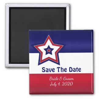 Roter weiße u. blaue Stern-Save the Date Magnet Kühlschrankmagnet