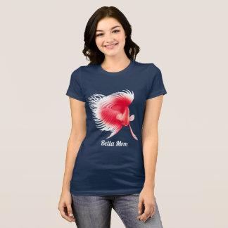 Roter weißer Betta kämpfender Fisch-Damen-T - T-Shirt