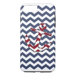 Roter weißer blauer Anker Zickzack iPhone 7 Plus Hülle
