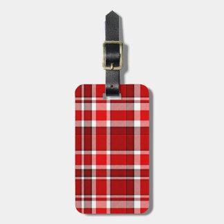 Roter weißer karierter Tartan | addieren Ihren Gepäckanhänger