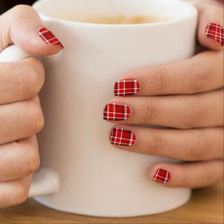Roter weißer karierter Tartan Minx Nagelkunst