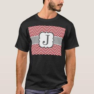 Roter weißer Monogramm-Buchstabe J Zickzack T-Shirt