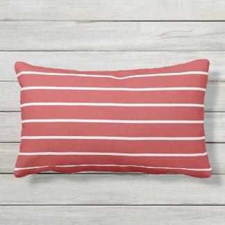 Roter weißer Streifen-klassischer Seeentwurf Kissen Für Draußen