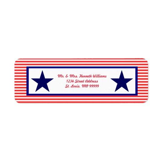 Roter weißer u. blauer Stern - Adressen-Etiketten Rückversand-Adressaufkleber