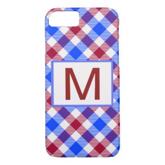 Roter, weißer und blauer Tartan-Karo iPhone 8/7 Hülle