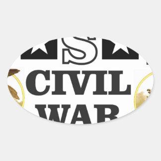 roter weißer und blauer ziviler Krieg Ovaler Aufkleber