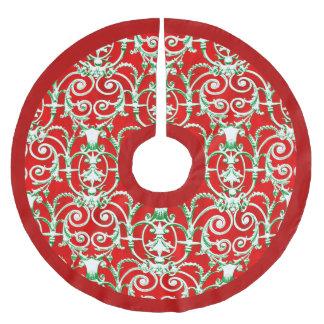 Roter weißer und grüner Damast Polyester Weihnachtsbaumdecke
