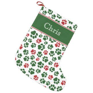 Roter, weißer und grüner Tatzen-Druck-Strumpf Kleiner Weihnachtsstrumpf