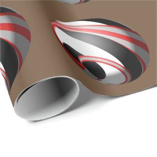 Roter weißer und schwarzer gestreifter Ball Geschenkpapier