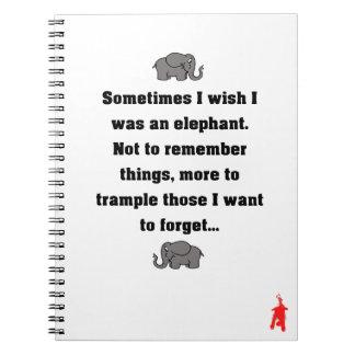 """roter Welpe """"manchmal wünsche ich… Elefanten """" Notizblock"""