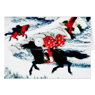 """roter Welpe """"Pferde im Wind """" Karte"""