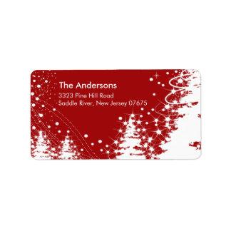 Roter Winter-Baum-Schnee-Szenen-Rücksendeadresse-A Adressaufkleber