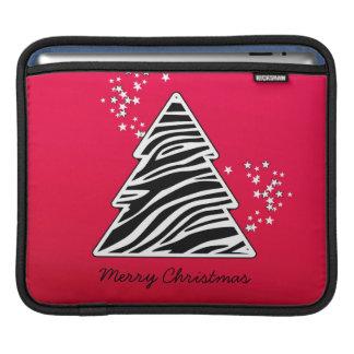 Roter Zebra-Weihnachtsbaum Sleeve Für iPads
