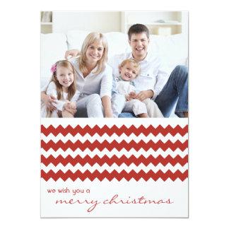 Roter Zickzack Chic-Familien-Feiertags-flache 12,7 X 17,8 Cm Einladungskarte
