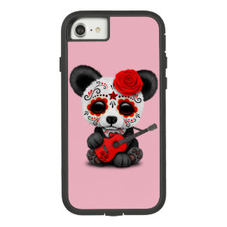 Roter Zuckerschädel-Panda, der Gitarre spielt Case-Mate Tough Extreme iPhone 8/7 Hülle