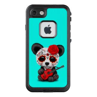 Roter Zuckerschädel-Panda, der Gitarre spielt LifeProof FRÄ' iPhone 8/7 Hülle
