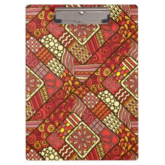 Rotes abstraktes Stammes- aztekisches Muster Klemmbrett