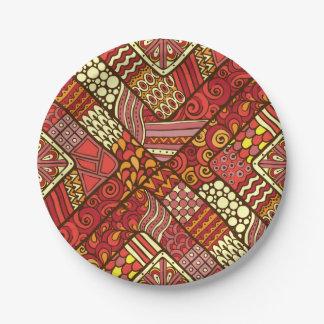 Rotes abstraktes Stammes- aztekisches Muster Pappteller