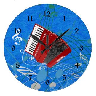 Rotes Akkordeon auf musikalischen Anmerkungen Große Wanduhr