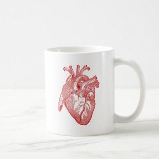 Rotes antikes anatomisches Herz Kaffeetasse