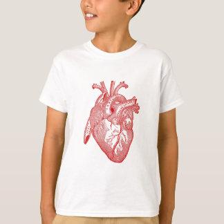 Rotes antikes anatomisches Herz T-Shirt