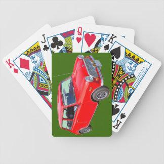 Rotes antikes Auto Mini Coopers Bicycle Spielkarten