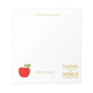 Rotes Apfelgoldzitat und Ihr Textlehrer Notizblock