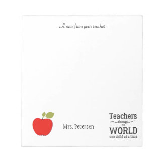 Rotes Apfelzitat und Ihr Textlehrer Notizblock