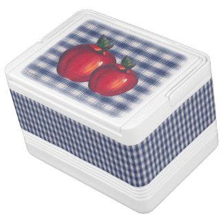 Rotes Apple-blaues kariertes Igloo Kühlbox