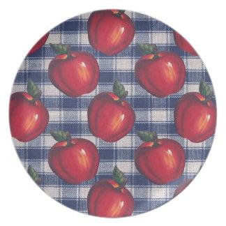 Rotes Apple-blaues kariertes Melaminteller