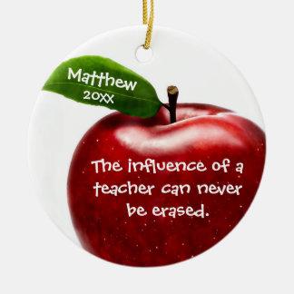 Rotes Apple-Lehrer-Anerkennungs-Geschenk Rundes Keramik Ornament