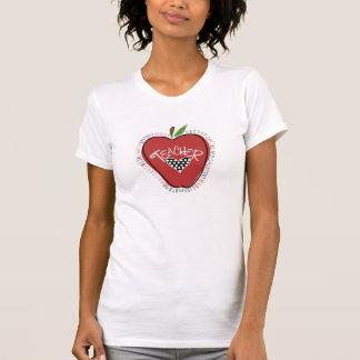 Rotes Apple-Tupfen-Herz-Lehrer-T-Shirt Shirt