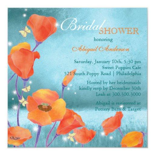 Rotes aquamarines Boho BlumenBrautparty Quadratische 13,3 Cm Einladungskarte