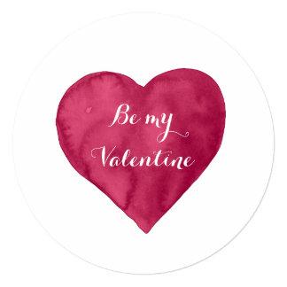 Rotes Aquarell Herz ist mein Valentinsgruß Quadratische 13,3 Cm Einladungskarte