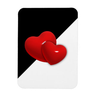 rotes backgr Herzen des Schwarz-weißen Dreiecks Magnet