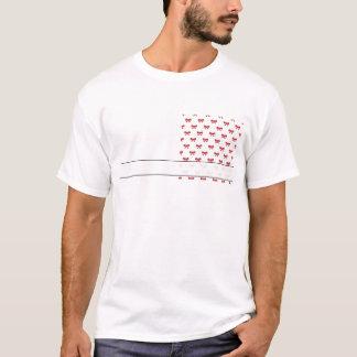 Rotes Band-Bogen-Muster auf Weiß T-Shirt