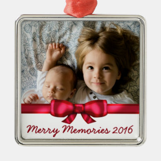 Rotes Band-Name-Familien-Foto Silbernes Ornament
