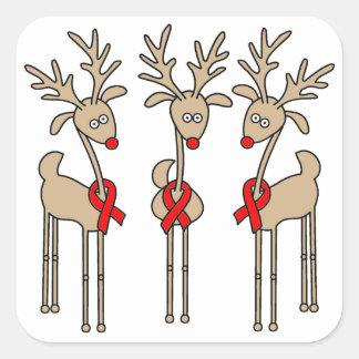 Rotes Band-Ren - AIDS u. HIV Quadratischer Aufkleber