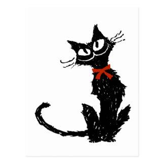 Rotes Band und schwarze Katze Postkarte