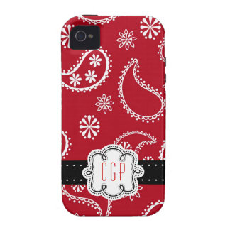 Rotes Bandanna-Land Paisley personalisiert Case-Mate iPhone 4 Case