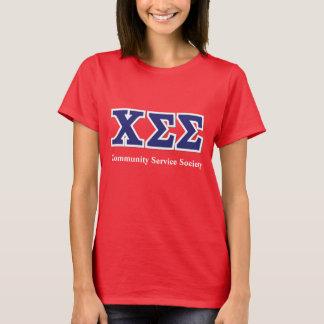 Rotes Baumwollt-stück mit blauen Buchstaben T-Shirt