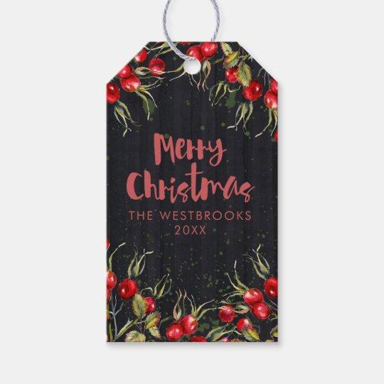 Rotes Beeren-Weihnachten Geschenkanhänger