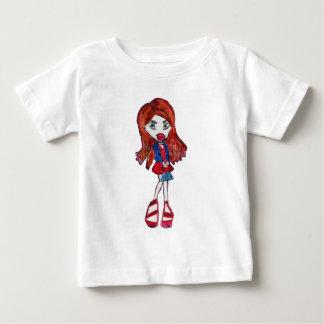 Rotes behaartes Fashionista-Mädchen Baby T-shirt