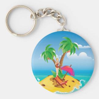 Rotes Bikini-Mädchen auf Insel Schlüsselanhänger