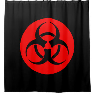 Rotes Biogefährdung-Symbol Duschvorhang