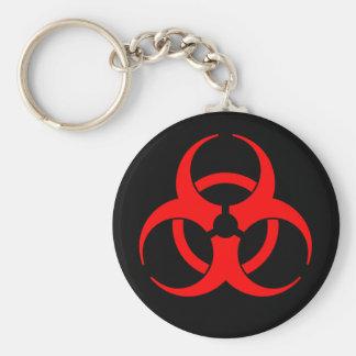 Rotes Biogefährdung-Symbol Schlüsselanhänger
