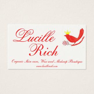 rotes birdfinal, Lucille, Reiche, Bio Visitenkarte