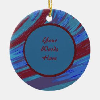 Rotes Blau-FarbSwish abstrakt Rundes Keramik Ornament